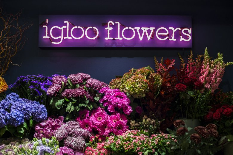 Igloo Flowers Neon Sign Front1 - Daniel Cobb - Locally grown